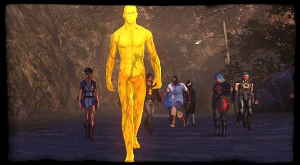 Der Goldjunge auf seinem Weg zum Halligalli Spawn